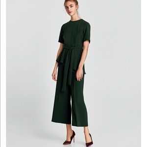 Zara Emerald Green High Waist Wide Leg Size L